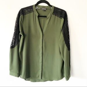 Express Forrest Green Lace Button Down Long Sleeve
